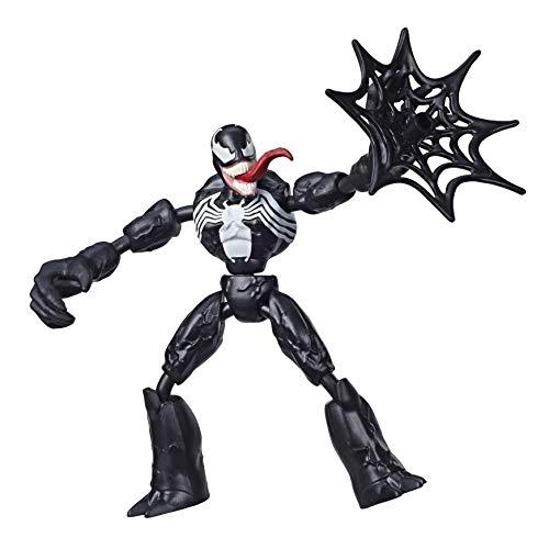 Marvel Spider-Man Bend and Flex, Action figure di Venom, figura flessibile di 15 cm, include accessorio per la ragnatela, dai 6 anni in su