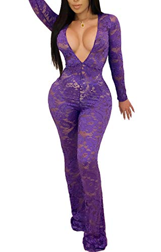 Chemenwin Women's Sexy Sleeveless Spaghetti Strap Floral Lace Long Pants Bodycon Clubwear Jumpsuit Rompers (Large, Purple-1)