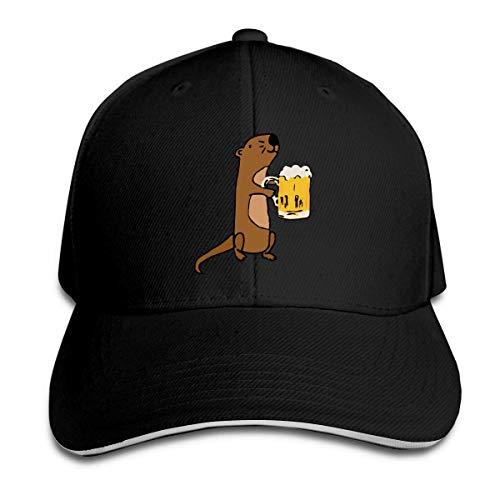 Unisex Sea Otter Beber cerveza Gorras de béisbol Sandwich ajustable Bill Gorras de pico Sombrero deportivo al aire libre