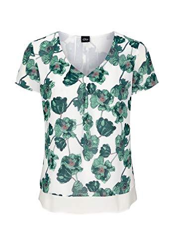 s.Oliver BLACK LABEL Damen Chiffonbluse mit Layering Cream floral Print 34
