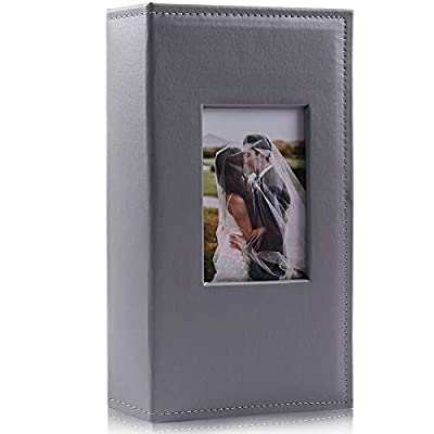 RECUTMS Photo Album 4x6 300 Photos Black Pages 3 Per Pages Photo Picture Album PU Leather Cover 4x6 Photo Sleeves Boy Girl Family Small Photo Albums Memo Slot Wedding Anniversary Holiday (Gray)