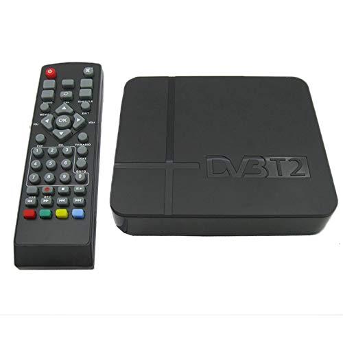 leluckly1 Cable Compacto y Ligero Mini Receptor terrestre de HD DVB-T2 Set Top Box, Soporte USB/HDMI / MPEG4 /H.264Simple y práctico (Negro)