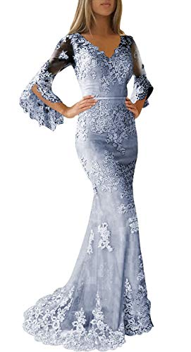 Prom Dress Long Formal Evening Gowns with Sleeves Lace Evening Dresses V Neck Mermaid Prom Dresses Dusty Blue