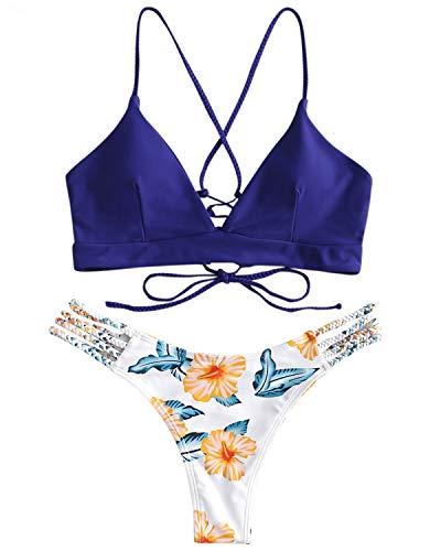 ZAFUL Damen Gepolsterter Bikini Set Bademode Badeanzug mit Blumenmuster Schnürung Zweiteilig SaphirblauMedium