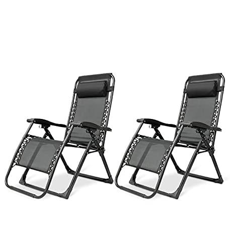 IBUYER Tumbona de jardín con soporte para taza y teléfono, tumbona reclinable de cero gravedad, silla plegable para exteriores (2, negro)