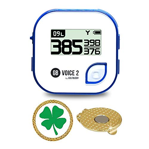 GolfBuddy Voice 2 Golf GPS/Rangefinder Bundle with Magnetic Hat Clip Ball Marker (Clover)