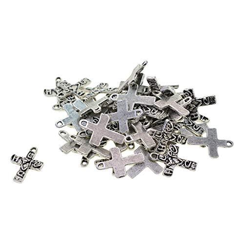 Bonarty 60pcs Tibetischen Silber Kreuz Herz Charms Handgefertigte Kleidung Pullover Kette Halskette Anhänge