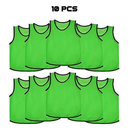 Ronex Sports - Pettorina da allenamento per bambini, ragazzi e adulti, confezione da 10 pezzi, Verde, Adulto