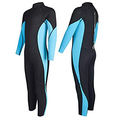 Nataly Osmann Full Wetsuits 3mm Neoprene Scuba Diving Suits Youth Back Zip Swimming Suit for Water Sports for Kids Boys Girls (Blue 01, 6)