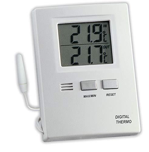 TFA Dostmann Digitales Innen-Außen-Thermometer, funktionales Display, Höchst- und Tiefwerte, Innen - und Außentemperatur