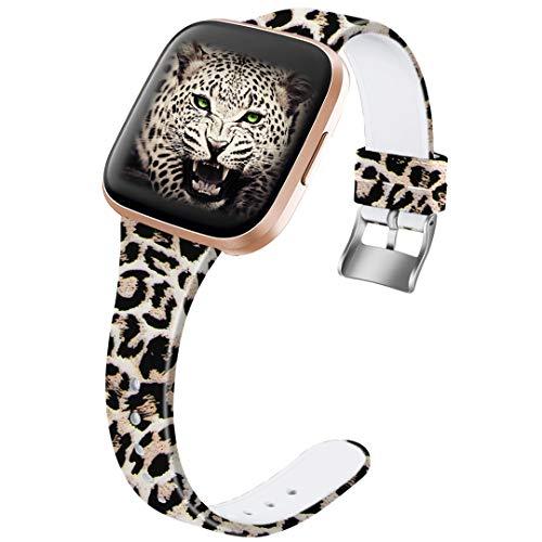 Ouwegaga Compatible for Fitbit Versa 2 Bands Versa Lite Band Straps Women Men Straps Leopard Pattern Small