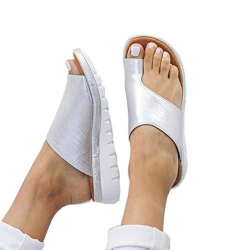 Nuevas Respirable Cuero Corrector De Juanetes Sandalias Verano Mujer Plana Zapatillas Moda Antideslizante Playa Viajes Reducen El Dolor De Juanetes