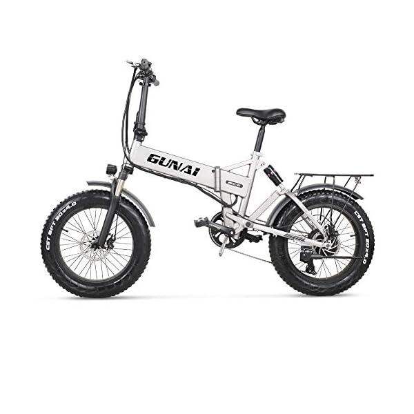 Electric Bikes GUNAI 20 inch Electric Snow Bike 500W Folding Mountain Bike with Rear Seat and Disc Brake with 48V 12.8AH Lithium…