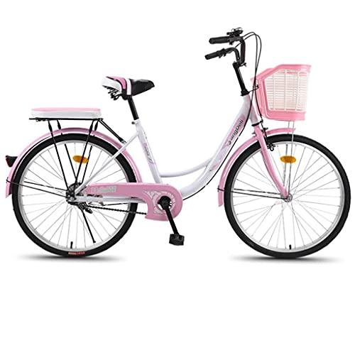 26'Bicicleta De Crucero para Mujer con Cesta Delantera, Bicicleta Clásica De Bicicletas De Playa con Asiento, Freno De Doble Freno, Cómodo Viajero De Viajes A La Playa.(Color:Rosa)