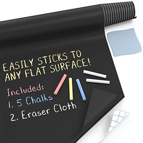 "Kassa Large Chalkboard Contact Paper Roll - 17.3"" x 96"" (8 Feet) - 5 Chalks Included - Chalk Board Paint Alternative Wallpaper - Adhesive Blackboard Wall Decal Vinyl - Black Chalkboard Stickers…"