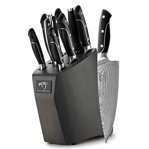 NANFANG BROTHERS Damaststahl Messerset mit Holz Block Japanisches Messer Set Damaststahl VG-10 - Küchenmesser Set Profi Kochmesser mit scharfen Klingen und ergonomischen