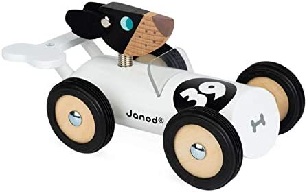 Janod Spirit Solid Cherry Wood Car Push Toy with Child Safe Water Based Lacquer Rubber Wheels product image