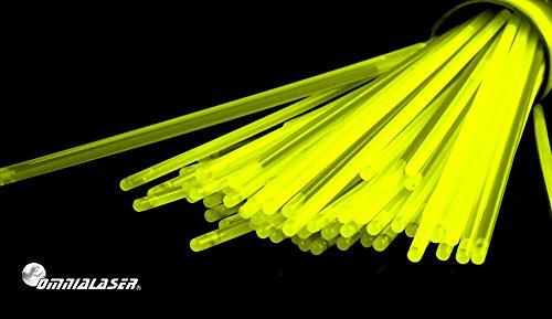 OmniaLaser OL-GLOW100YELLOW Bracciali Luminosi Glow Stick con connettori 100 Pezzi (Giallo)