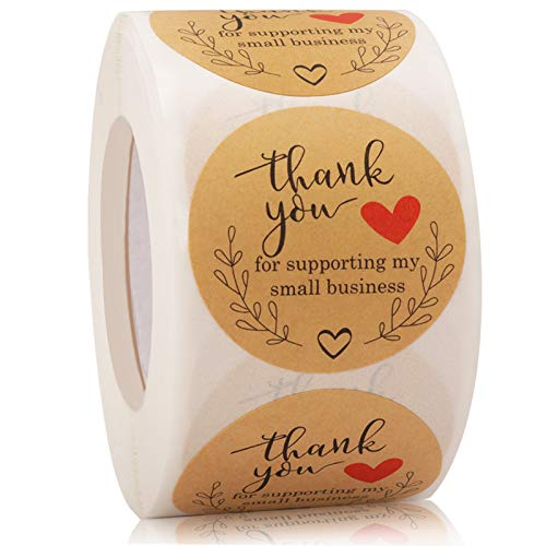 VONDERSO 1.5 Inch Round Thank You for Supporting My Small Business Stickers, 500 Pcs Cowhide Adhesive Label Stickers per Roll for Bags, Packaging, Gifts for Crafters & Online Sales