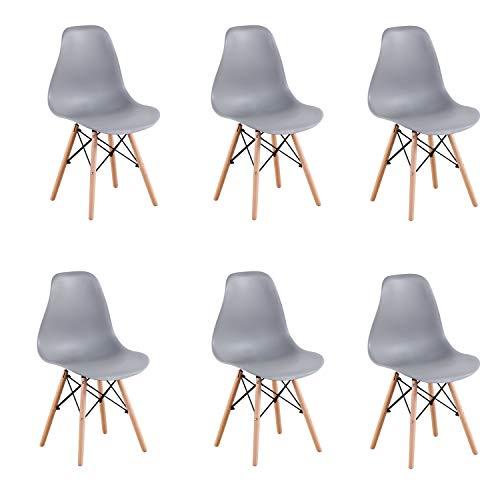 EGNM Set von 4/6 Kunststoff Wohnzimmer Stuhl Esszimmerstuhl Bürostuhl nordischen Stil (Grau-6)