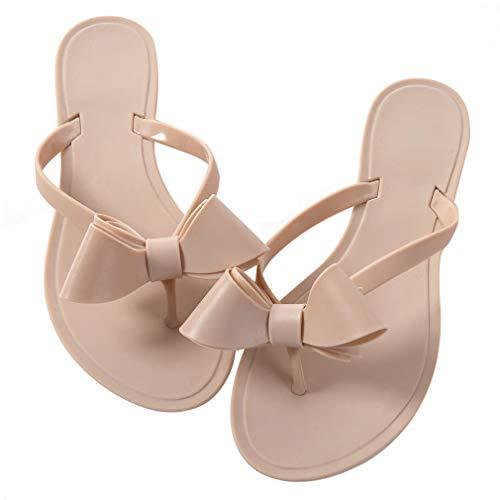 Mtzyoa Women Stud Bow Flip-Flops Sandals Beach Flat Rivets Rain Jelly Shoes Nude Size 6.5