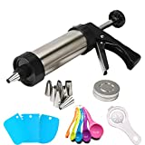 SIMPLE OPERATION: The cookie press gun is very easy to operate. You can make cookies in various shapes like professionals without any experience, making you a professional pastry chef. FOOD-GRADE STAINLESS STEEL: Our spritz cookie press gun is made o...