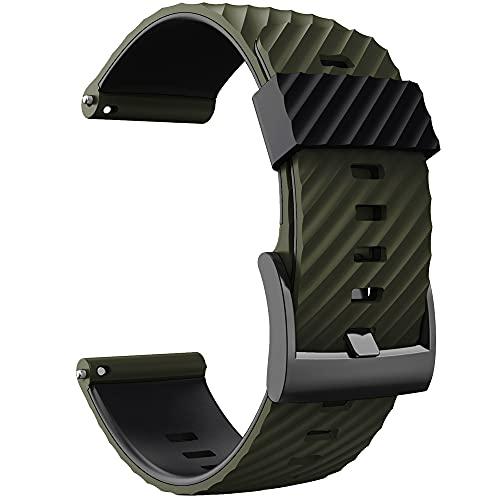KINOEHOO Cinturino Compatibile con Suunto 7/9/9 baro/D5/spartan sport Cinturini di Ricambio in Silicone.(Verde militare nero)