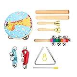 TOYANDONA 7 Piezas de Instrumentos de Percusión para Niños Pequeños Educativos Instrumentos Musicales de Percusión para Niños Juego de Instrumentos con Pandereta Castanets Más para Bebés Y