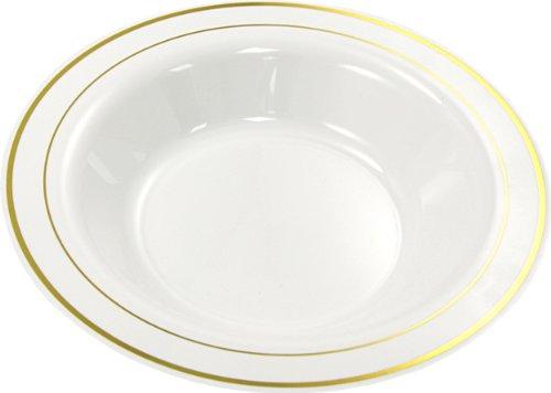 """20 Blanc Argent Rim 10/"""" MOZAIK forte jetables en plastique dur assiettes 26 cm"""