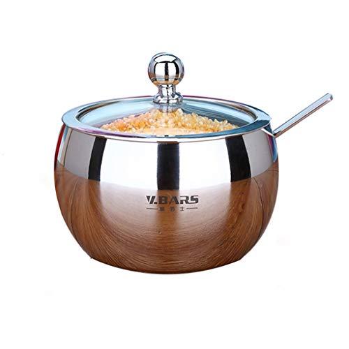HQQSC Latas de azúcar hogar condimento Caja de Sal de Cocina Aceite de Chile 304 Cuadro de condimento de Acero Inoxidable + Cuchara uno Frasco de condimento (Color : B)