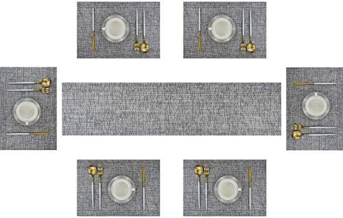 6er Platzdeckchen mit einem Tischläufer,Eageroo Rutschfest Abwaschbar Tischmatten aus PVC Abgrifffeste Hitzebeständig Tischsets Schmutzabweisend,Hellgrau (6er Platzsets + ein Tischläufer)