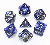 HD DND Dice Set RPG Blue & Gray 7-Die Dice Set Fit Dungeons and Dragons(D&D) Pathfinder MTG Role Playing Games Polyhedral Dice with Dice Pouch