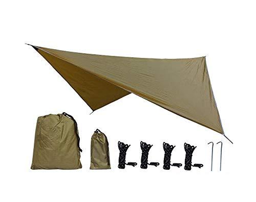 JHKGY Rain Fly pour Hamac -Extra Large Hamac Rainfly-Léger, Nylon Ripstop - Couvre-Pluie Imperméable Eno 2000 PU -Toile De Tente Anti-Mouches – 3,6 × 2,9 M,Camel