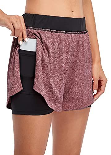 COOrun Yoga Shorts for Women Elastic Waist Exercise Shorts Hiking Gym Shorts with Black Pocket Wine Red Large