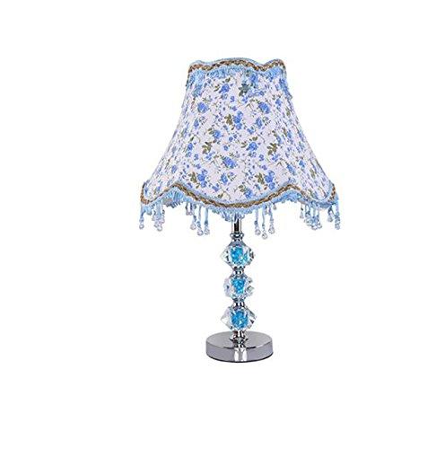 ZWL Lampe de table à cristaux bleus, chambre à coucher Lampe de chevet Salon Chambre d'hôtel Étude Cabinet de toilette Aménagement de la maison Décoration Art en tissu E27 Lampes d'éclairage 30 * 46cm fashion.z ( taille : 30*46CM )