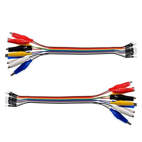 Oiyagai 2 in 1 Alligator Clip to Dupont Wire 20pin 20cm Male, Crocodile Clip to Jumper Wire Male for Test Lead Arduino/ Raspberry Pi/ Orange Pi