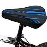 HUISIFANG Gel Coprisella Bici 30 x 19cm per Sella Stretta - Copri Sellino per Bicicletta con Copertura Impermeabile - Coprisedile Comfort Per Bici MTB, Bici da Corsa (Nero/Blu)