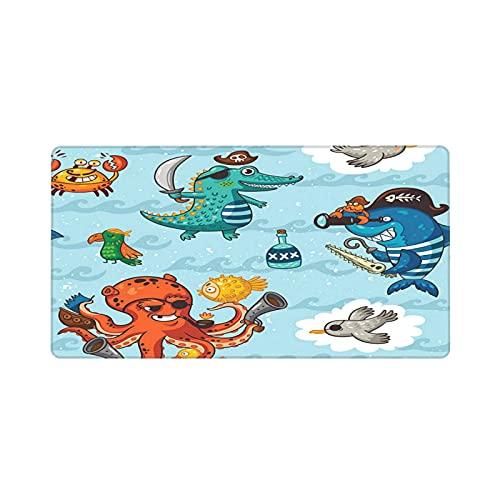 Alfombrilla de ratón para Juegos 30X80CM,patrón sin Fisuras con Piratas submarinos cocodrilo Pulpo tiburón Cangrejo,Base de Goma Antideslizante,Adecuada para Jugadores,PC y portátiles