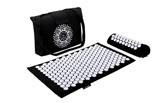 """Dr Relief Acupressure Mat 28"""" x 17"""" - Shiatsu Intervention Mat & Pillow Gift Set - Quick Back & Neck Pain Relief for Men & Women, Cushion for Sciatica, Trigger Point Therapy, Stress Relief and Muscle"""