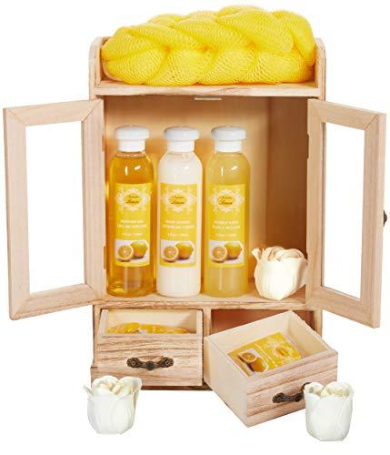 BRUBAKER Cosmetics Bade- und Pflegeset Lemon im Holzschrank