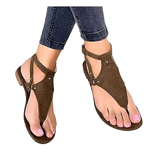 Eduavar Beach Sandals for Women Dressy Tassel Sandals for Women,Retro Bohemian Gladiator Fringe Casual Sandals Flat Clip Toe Ankle Boots Beach Shoes T-Strap Roman Open-Toe Sandals