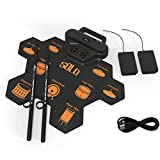 GGJJ ZHZZ Mano Roll Tamburo Elettronico con 9 Sensitive Drum Pad Pratica Mat Portatile Ritmo del Silicone di Beginner Pratica Batteria Elettronica con Audio di Gioco