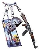 The Purple Tree PUBG Keychain with Level 3 Helmet and AKM Gun