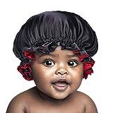 SENGTERM Kinder Satin Schlafmütze Baby Doppelschichten Satin Verstellbare Motorhaube seiden Nachtmütze Elastisches Band Satin bonnet Night Cap für Haare Haarpflege (Kinder, kids black-red)