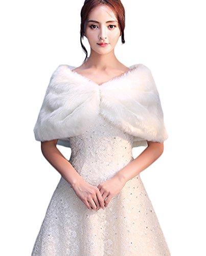 Icegrey Damen Brautzusatz Kunstpelz Bolerojacke Hochzeit Braut Schal Brautschal Cape Wedding Shawls Elfenbein Weiß