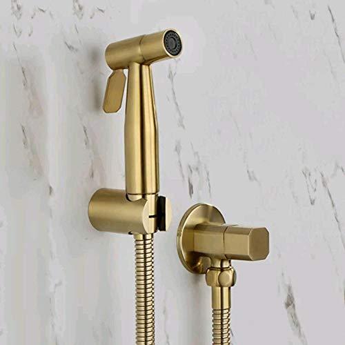 Mano Grifos de Bidé con soporte de pared Hose Set Baño - Tapa de pistola pulverizadora de inodoro bidé negro bronce-dorado