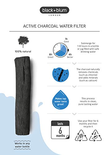 Black+Blum Charcoal Water Filter Hydration, Old Japanese Tradition, Lasts 6 Months, Natural Wood, Brown