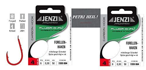 .Jenzi Set: 2 Packungen gebundene Forellenhaken (12 Stück) an Fluoro-Carbon Schnur, Hakengröße 4 + gratis Petri Heill! Aufkleber