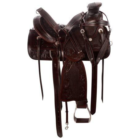 Deen, Enterprises, Wade Tree A Fork - Sillín de cuero occidental de trabajo con cuerdas, tamaño 35,56 a 45,72 cm, asiento disponible