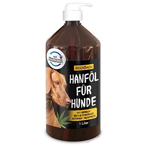 MeerBach Animal 1 Liter Hanföl für Tiere • 100% reines Hanföl für Hunde, Katzen und Pferde • Nahrungsergänzungsmittel zum Barfen für Hunde • 100% natürlich